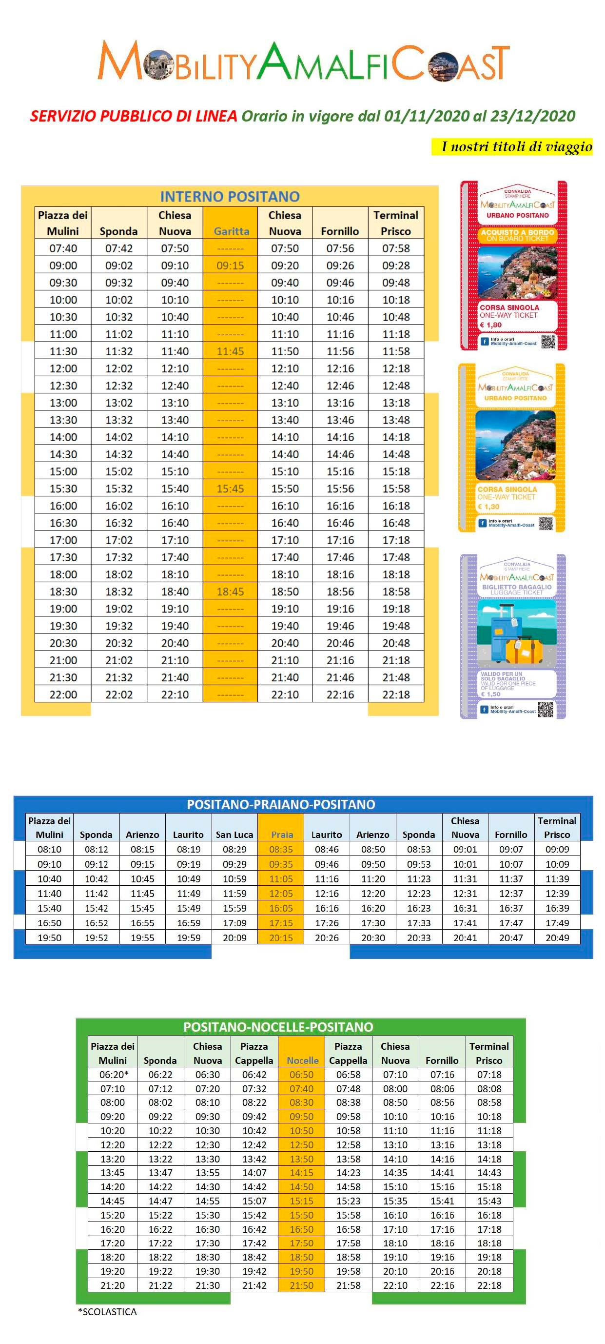 Timetable Local Bus Positano